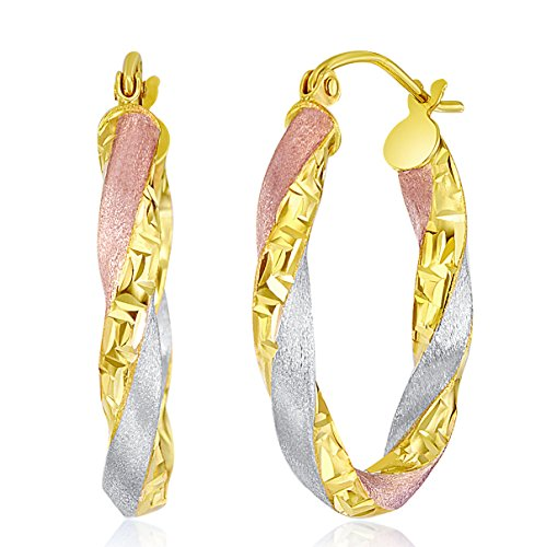 Wellingsale Ladies 14k Tri 3 Color Gold Polished Satin 3mm Oval Twisted Greek Key Hoop Earrings (17 x ()