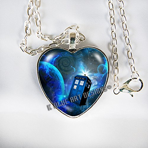 Tardis Doctor Who inspired police box - Pendant Necklace (Heart Shaped) - (The Doctor Costume Matt Smith)
