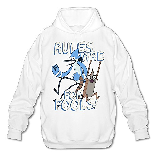 Regular Show Mordecai And Rigby Costumes (Wesley Regular Show Men's Sport Pullover Hood White XXL)