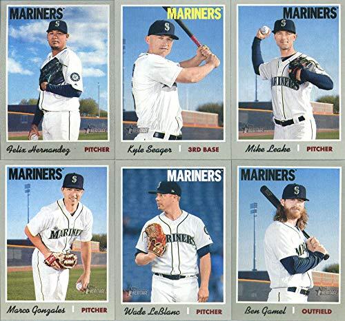 2019 Topps Heritage Baseball Seattle Mariners Team Set of 11 Cards: Felix Hernandez(#2), J.P. Crawford(#90), Jay Bruce(#99), Mallex Smith(#150), Ryon Healy(#185), Kyle Seager(#271), Mike Leake(#289), Ben Gamel(#301), Denard Span(#339), Marco Gonzales(#377), Wade LeBlanc(#393)