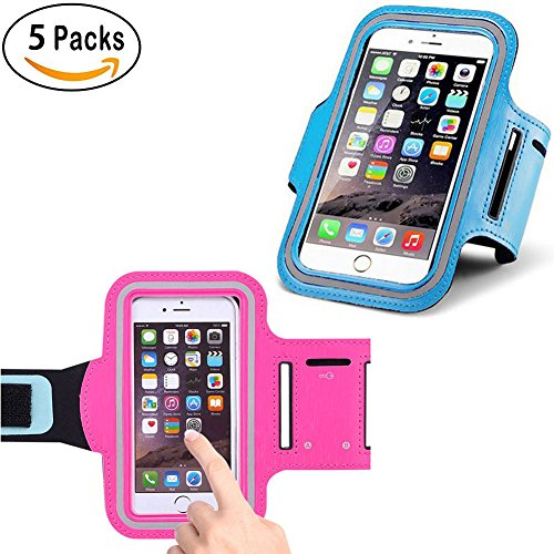 5Pack Sports Running Armband Armbag Gym,Fitness,Running,Hiking, Cycling,Walking Cell Phone Case Waterproof Touch Screen Key Holder for iPhone Galaxy Samsung Note LG
