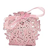 Rrunzfon 50pcs Butterfly Pattern Candy Boxes Elegant Ribbon Sweet Holder Bridal Favor Sweet Case Love Style Hollow Wrap Boxes Stationery & Office Supplies