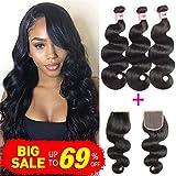 Cheap Bestsojoy Brazilian Virgin Hair 3 Bundles with Closure Unprocessed 100% Human Hair Weave Brazilian Body Wave Bundles With Free Part Closure(16 18 20 with 12)