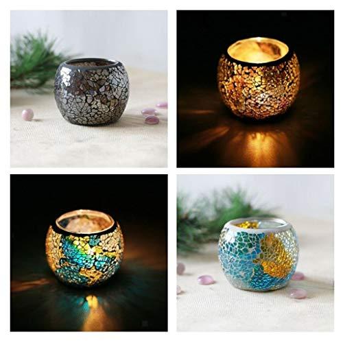 - BROSCO 2Pcs Glitter Patch Mosaic Votive Candle Tealight Holder Candelabra Wedding E