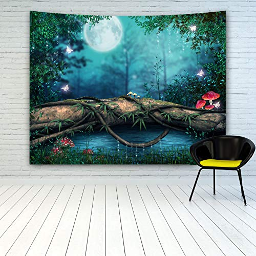 MINAKO Fairytale Forest Tapestry Wall Hanging,Fantasy Fairy Tale Forest Green Trees Red Mushroom Magic Butterflies Full Moon Background Tapestry for Kids' Room Boy Girls Bedroom Living Room Decoration