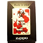 Zippo Custom Lighter – Keep Calm and Kill Zombies Bloody Blood Splatter Biohazard Logo White Matte Finish Rare!