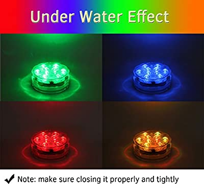 Submersible LED Lights with Remote Battery Powered, Qoolife RGB Multi Color Changing Waterproof Light for Vase Base, Floral, Aquarium, Pond, Wedding, Halloween, Party, Christmas, Submersible Lights