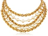 "Ben-Amun Jewelry ""Gold and Pearl"" Multi-Row Necklace, 16"""