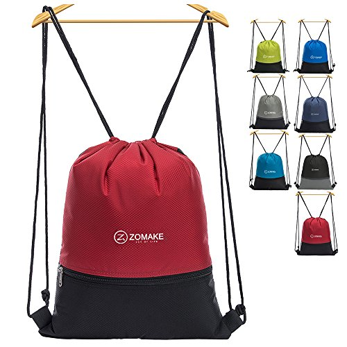 ZOMAKE Drawstring Backpack Large Strings Bags Water Repellent Gymbag Sackpack Tote Cinch Bag for Ourdoor Sport Yoga (Red)
