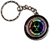 Zombie Outbreak Response Team - Rainbow on Black Round Spinning Keychain