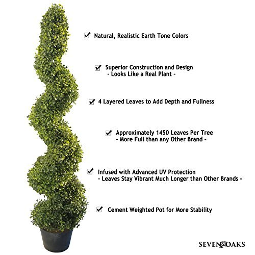 4' Artificial Topiary Spiral Boxwood Trees (Set of 2) by Seven Oaks | Highly Realistic Potted Decorative Buxus Shrubs | Fake Plastic Plants for Home / Garden | Indoor & Outdoor Use | UV Protected by