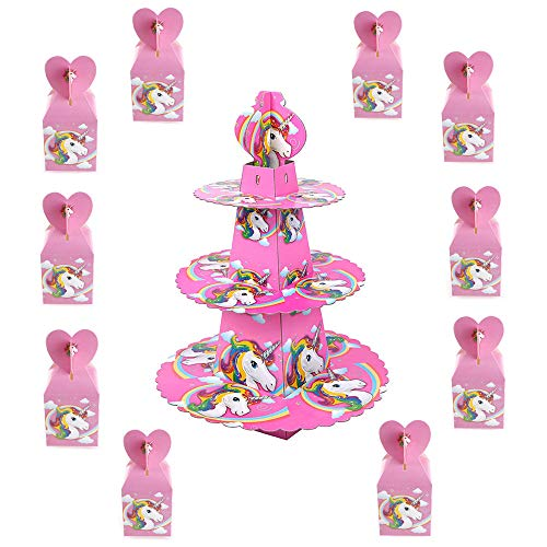 TRIXES 10PC Unicorn Party Favour Boxes for Sweets Chocolate Gifts - and 3 Tier Cake Stand for Cupcakes Cheeses and Canapes -for Birthdays Baby Showers- Colour Pink