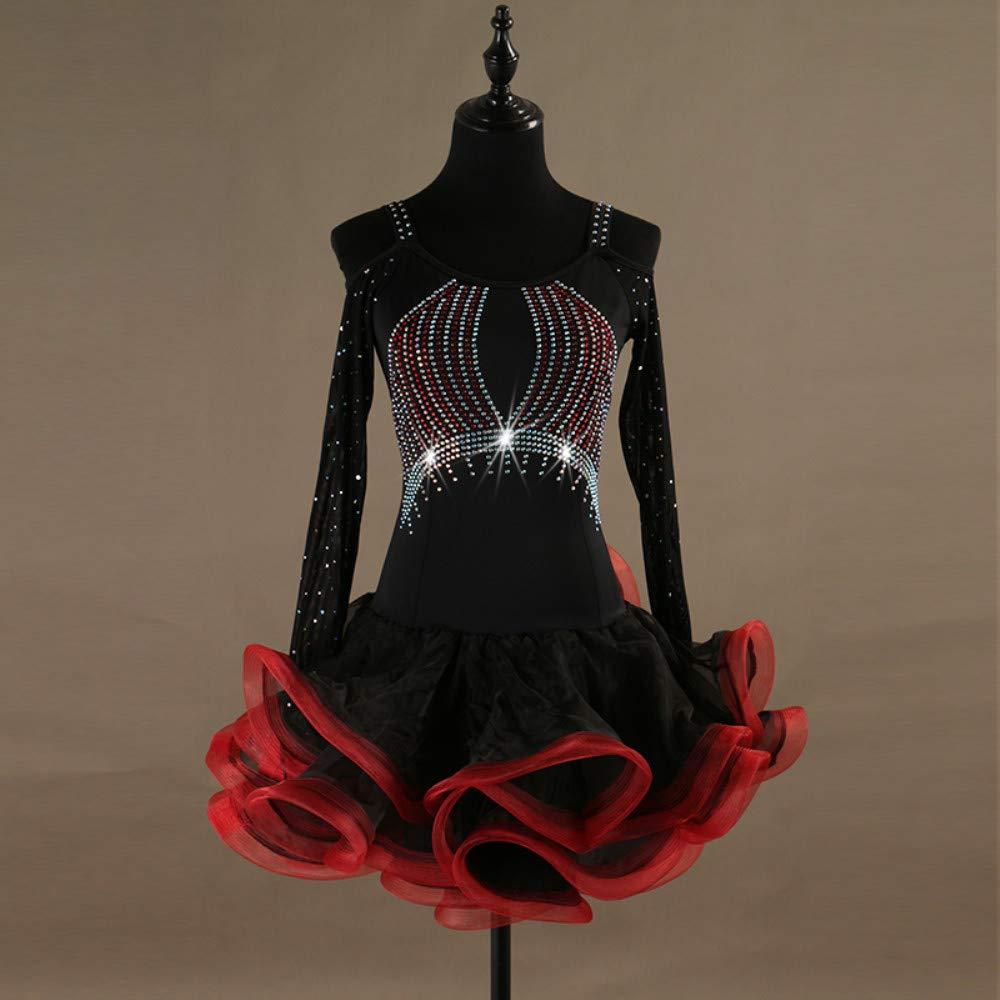 宅配 ラテンダンスドレス女性のパフォーマンススパンデックスオーガンザの結晶ラインストーン長袖ドレス Small B07PB9MDZ2 B07PB9MDZ2 Small|Red Red Red Small, ケーズブロス:098188e6 --- a0267596.xsph.ru