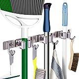 "Mop Broom Holder Heavy Duty Hooks Hanger Wall Mounted 15"" Stainless Steel Organizer for Lanudry Garden Garage Tools Rack Storage Durable"