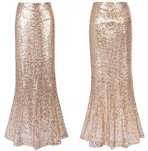 Women's Sexy Maxi Sequins Skirts Party Prom Mermaid Long Skirts (Gold, S)