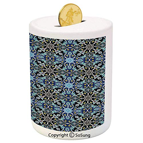 SoSung Moroccan Ceramic Piggy Bank,Bohemian Eastern Arabic Pattern with Interlacing Lines Historical Roman Influences 3D Printed Ceramic Coin Bank Money Box for Kids & Adults,Royal ()