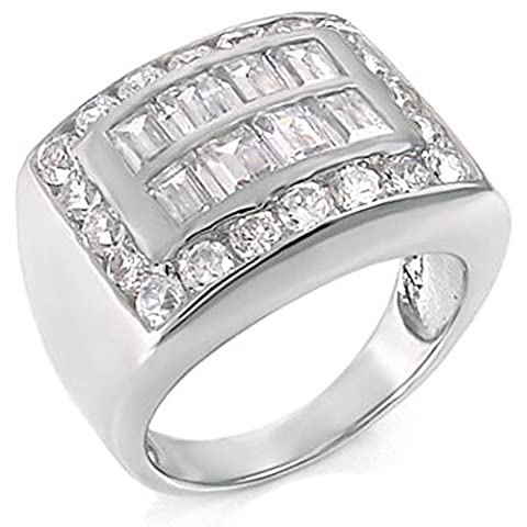 Mens Large Iced Out Baguette Pave Cz Sterling Silver Band Ring (Ice Jewelry For Men)