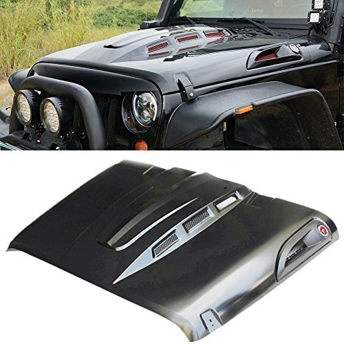 MAIKER The Avenger Style Jeep Wrangler Hood for Jeep Wrangler JK JKU Unlimited Rubicon 2007-2017, Heat Dispersion, Black