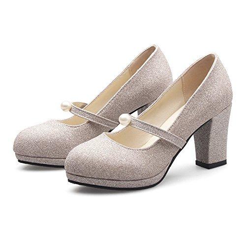 Damen Niedriger Absatz Mattglasbirne Rein Ziehen auf Rund Zehe Pumps Schuhe, Weiß, 40 VogueZone009