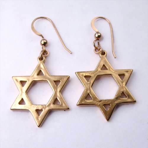 Gold Dangle Wire Cast Pendant (Star of David Gold-dipped Earrings on French Hooks)