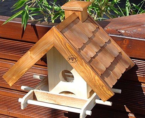 Vogelfutterhaus,BEL-X-VOWA3-dbraun001 NEU Vogelhäuschen PREMIUM Vogelhaus MEGASILO KOMPLETT mit Futtersilo + SICHTGLAS für Vorrat PREMIUM Vogelhaus - ideal zur WANDBESTIGUNG - vogelhäuschen, Futterhäuschen, Qualität Schreinerware 100% Massivholz - Vogelhau