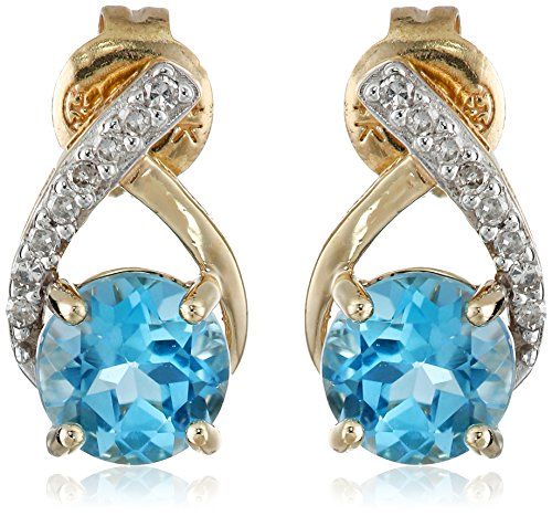 Diamond Blue Topaz Ring Earrings (14k Yellow Gold Swiss Blue Topaz and Diamond Accents Post Stud Earrings)