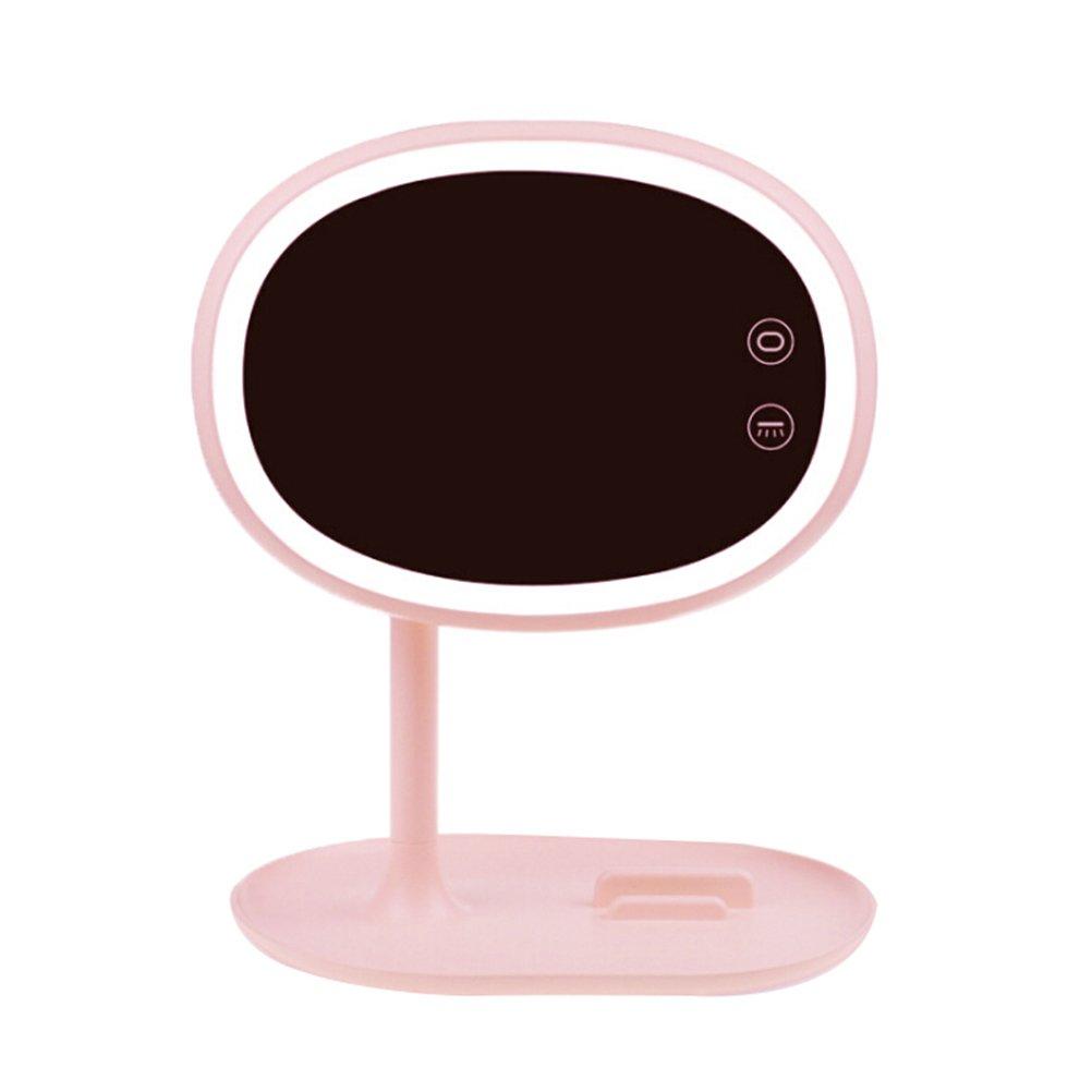 LEDMOMO Specchio per trucco LED, specchio cosmetico ricaricabile per camera da letto Decorazione carica USB (rosa)