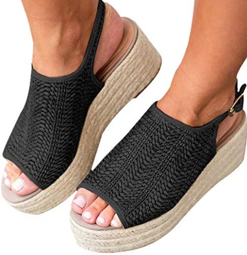 Snowchers Womens Espadrilles Platform Wedge Buckle Woven Peep Toe Sandals Black US 10