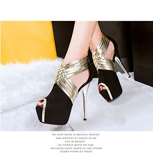 Wotefusi Women Peep-toe Crossing Bandage Strap Sexy Club Party Stiletto Shoes High Heel Black YPXVOim