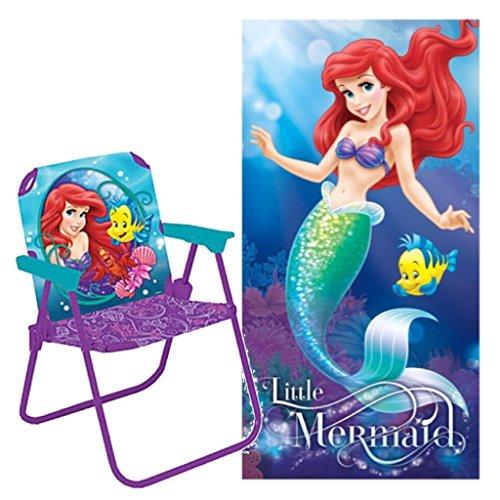 Disney The Little Mermaid 2 Piece Beach Day Set - Folding Patio Chair and Plush Beach Towel