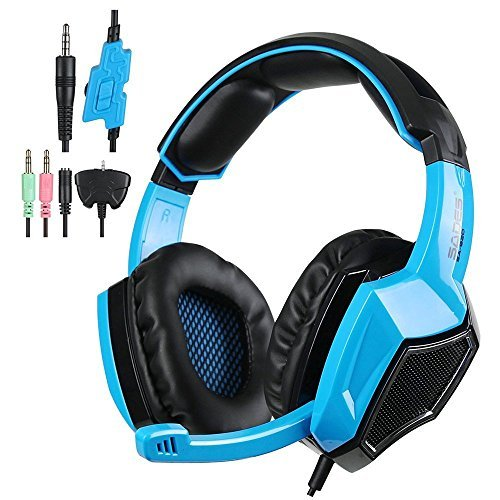 Price comparison product image SADES SA920 Multi-Platform Stereo Gaming Over Ear Headphones with Microphone Volume Control,  Blue