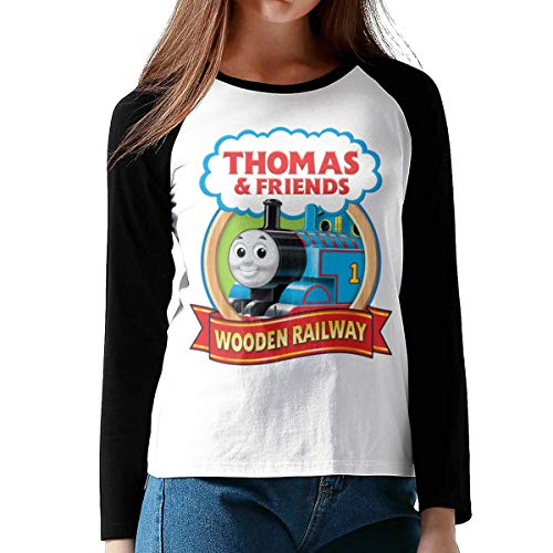 Lerzincser Women's Basic Thomas The Tank Engine & Friends Logo Long Sleeve Raglan Baseball T Shirts XL Black (Thomas The Tank Engine And Friends Logo)