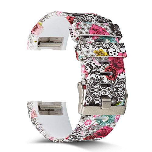 AIWELL Fitbit Charge 2 Bands,Silicone Adjustable Replacement Sport Strap Printed Bands Classic Buckle Fitbit Charge2 HR,Fitbit Charge 2 Accessories Wristbands (Pattern-14, Small)