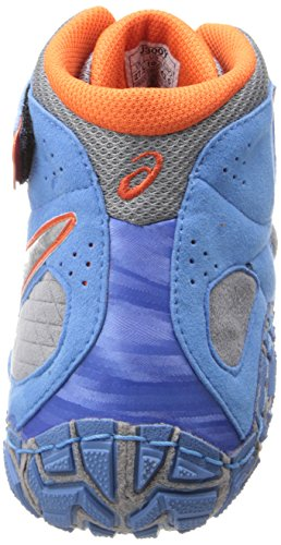 Asics Men's Aggressor 2 Wrestling Shoe, Dusty Blue / Silver / Red Orange, 11 M US