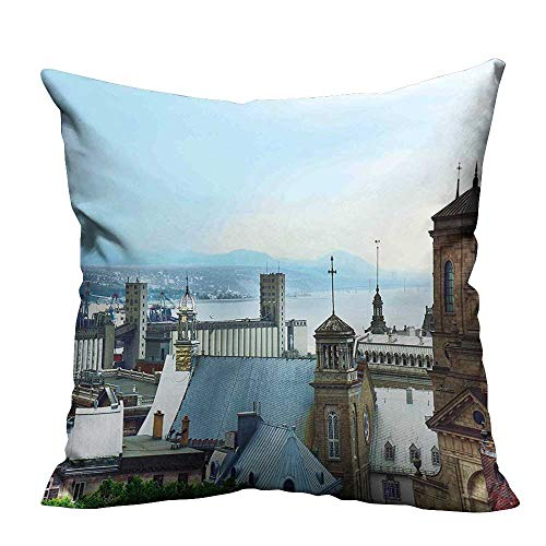 YouXianHome Sofa Waist Cushion Cover Quebec City Skyline Tin Rooftops Churches St. Lawrence River Landmark Blue Brown Grey Decorative for Kids Adults(Double-Sided Printing) 27.5x27.5 inch -