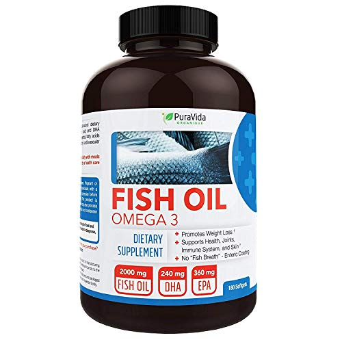 PuraVida Omega 3 Fish Oil Supplement, Burpless, 180 Capsules ()