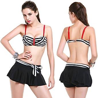 Bikini de Tres Piezas Falda XL Placa de Acero Bikini Rayas Topless ...