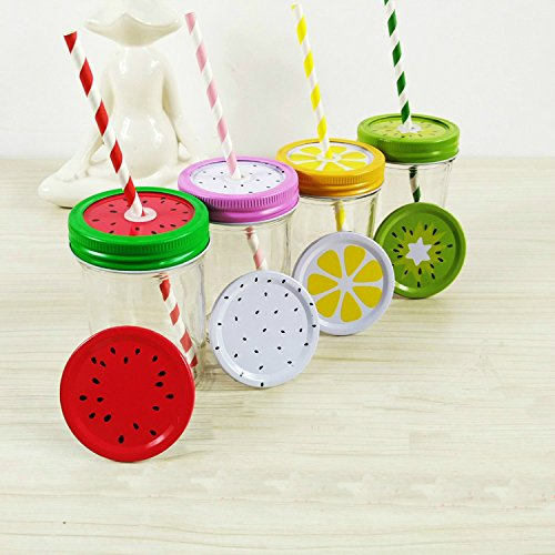 4 Colors Metal Decorative Regular Mouth Mason Jar Lids with Reusable Plastic Thick Drinking Straws, 8 Pcs …