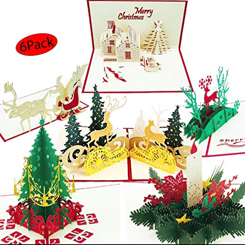3D Christmas Cards pop up | Set of 6 Xmas Greeting Cards & Envelopes | Funny Personalized Holiday PostCards | Handmade thank you card Gifts, Tree, Snowman, Reindeer,Candle (Christmas Nativity Dog Cards)