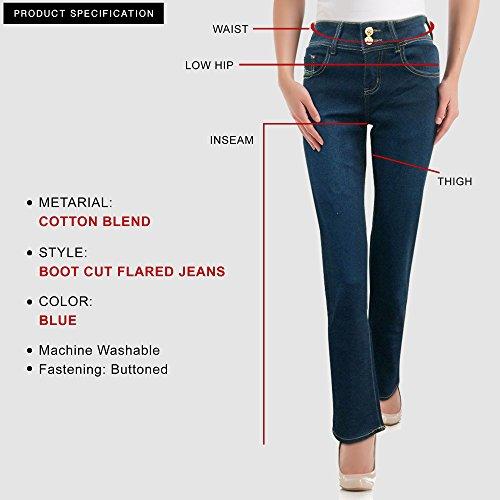Xelay Pantalones Azul para Mujer Cut Vaqueros Boot BwBYx5rHq
