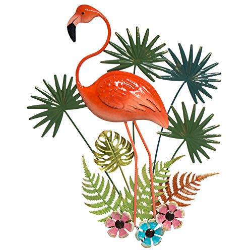 Flamingo Metal Wall Decor - 3D Design - Hand Painted Wall-hanging - Large Impressive Wall Dcor  18  x 23  - Indoor or Outdoor Covered Areas - Home Decoration- Bird Art