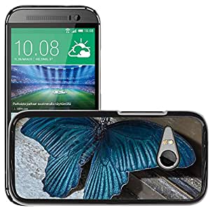 Hot Style Cell Phone PC Hard Case Cover // M00129310 Butterfly Insect Blue Large Huge // HTC One Mini 2 / M8 MINI / (Not Fits M8)