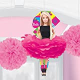 Amscan Barbie Sparkle Fluffy Pompoms Birthday Party Hanging Decorations (3 Pack), Pink/Magenta.