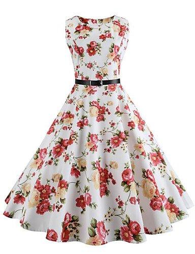 JIALE3536 Vestido Fiesta Mujer,De Fiesta Partido De La Mujer Vestido Floral,Cuello Redondo Sin Mangas Elástica Micro Blanco