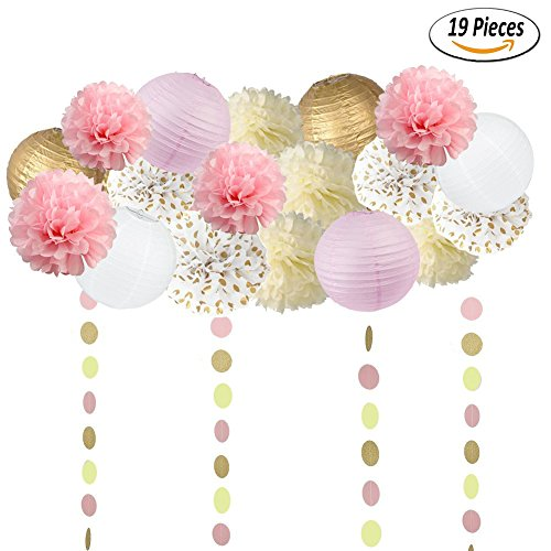 Sopeace 19PCS Tissue Craft Decoration Kit | Pretty Party Supplies: Pom Flowers, Garland &Lanterns | Pastel Pink, Gold Polka Dot & Ivory | Perfect poms for a baby shower or girls first 1st birthday. Paper Lanterns Craft