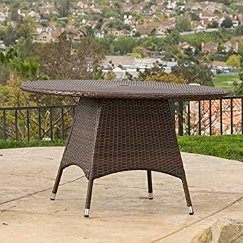 Great Deal Furniture Kanza Outdoor Brown Wicker Round Dining Table
