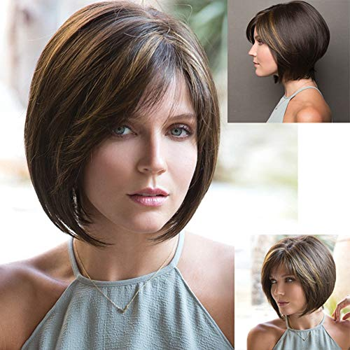 GNIMEGIL The Bobs Haircut Short Brown Bob Wigs for Women Trendy Hairstyle Cute Wig (Cute Hairstyles For People With Short Hair)