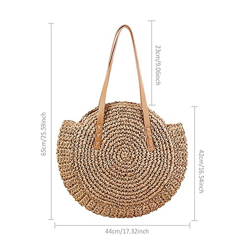Purpose Retro Straw Camel Braided Woven Prom Nordic Shoulder Outdoor Bag Travel Beach Bag Dual Bag New Style Sling Minimalist Handmade Handbags Beach Note Beige Bag Circular qzwfFqT