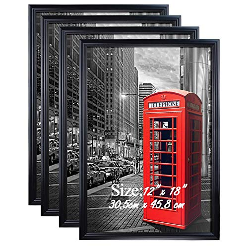 PETAFLOP 12x18 Frame Black Poster Frame 12x18 Hanging Picture Frames for 12 x 18 Inch Print, Set of 4 ()