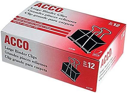 Acco Binder Clips, grande, 12 por caja, caso de 48 cajas, 576 total (72100): Amazon.es: Oficina y papelería